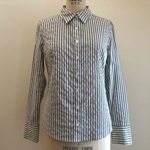 Nordstrom Caslon Striped Button Down Work Chic Top